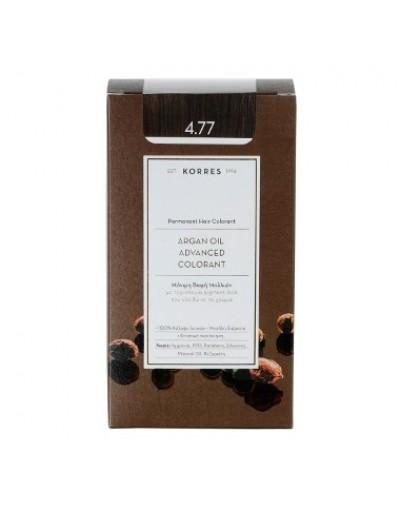 Korres Argan Oil Advanced Colorant Μόνιμη Βαφή Μαλλιών 4.77 Σκούρο Σοκολατί [ΚΩΔ.6597]