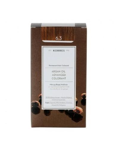 Korres Argan Oil Advanced Colorant Μόνιμη Βαφή Μαλλιών 6.3 Ξανθό Σκούρο Μελί [ΚΩΔ.6590]