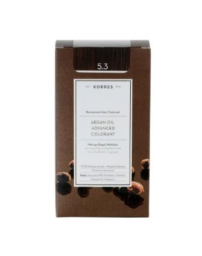 Korres Argan Oil Advanced Colorant Μόνιμη Βαφή Μαλλιών 5.3 Καστανό Ανοιχτό Μελί [ΚΩΔ.6589]