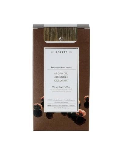 Korres Argan Oil Advanced Colorant Μόνιμη Βαφή Μαλλιών 6.1 Ξανθό Σκούρο Σαντρέ [ΚΩΔ.6587]