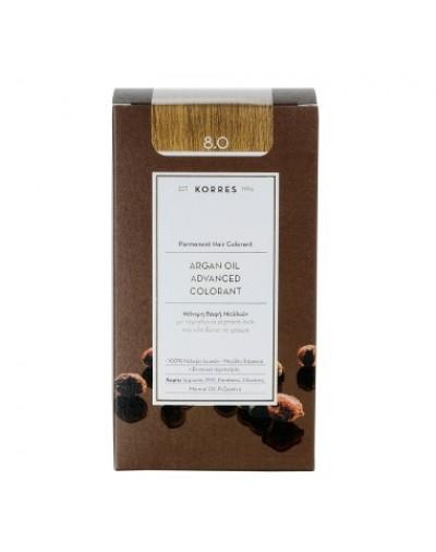 Korres Argan Oil Advanced Colorant Μόνιμη Βαφή Μαλλιών 8.0 Ξανθό Ανοιχτό Φυσικό [ΚΩΔ.6583]