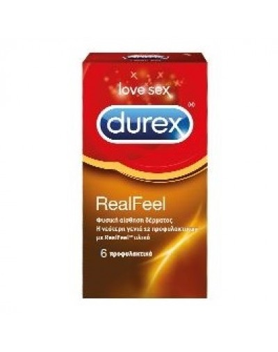 Durex RealFeel Condoms for Natural Skin on Skin Feeling 6 Pack [CODE 6664]