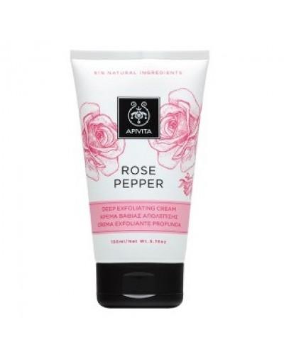 Apivita Rose Pepper Глубоко отшелущивающий крем с эфирными маслами Роза и Перец 150мл [КОД 6932]